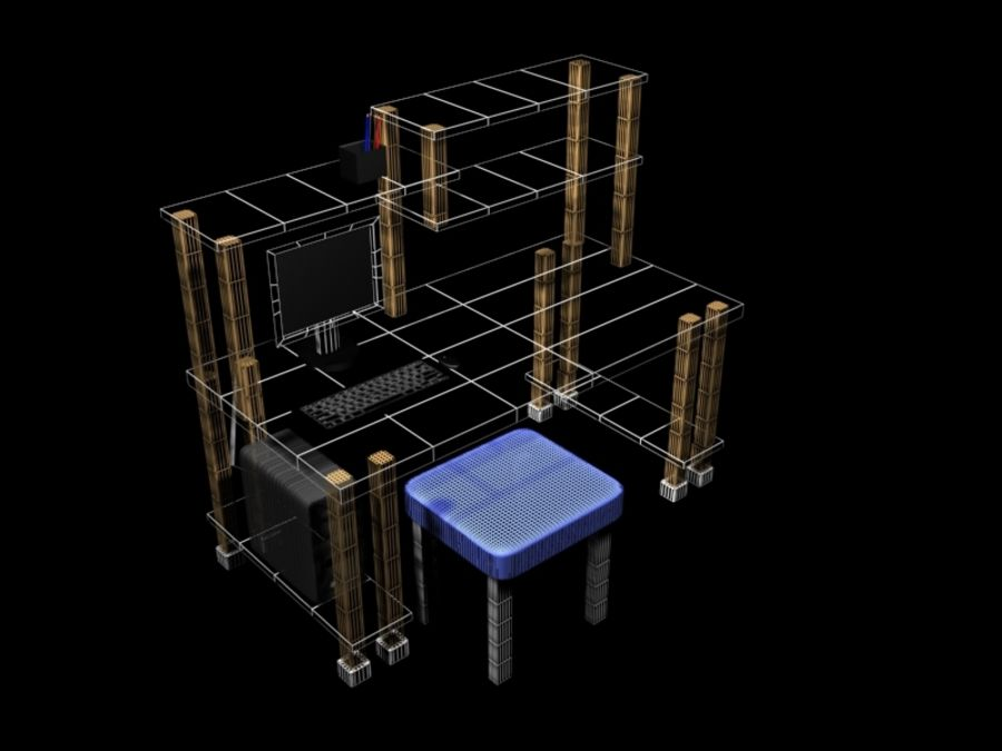 Desktop Table royalty-free 3d model - Preview no. 6