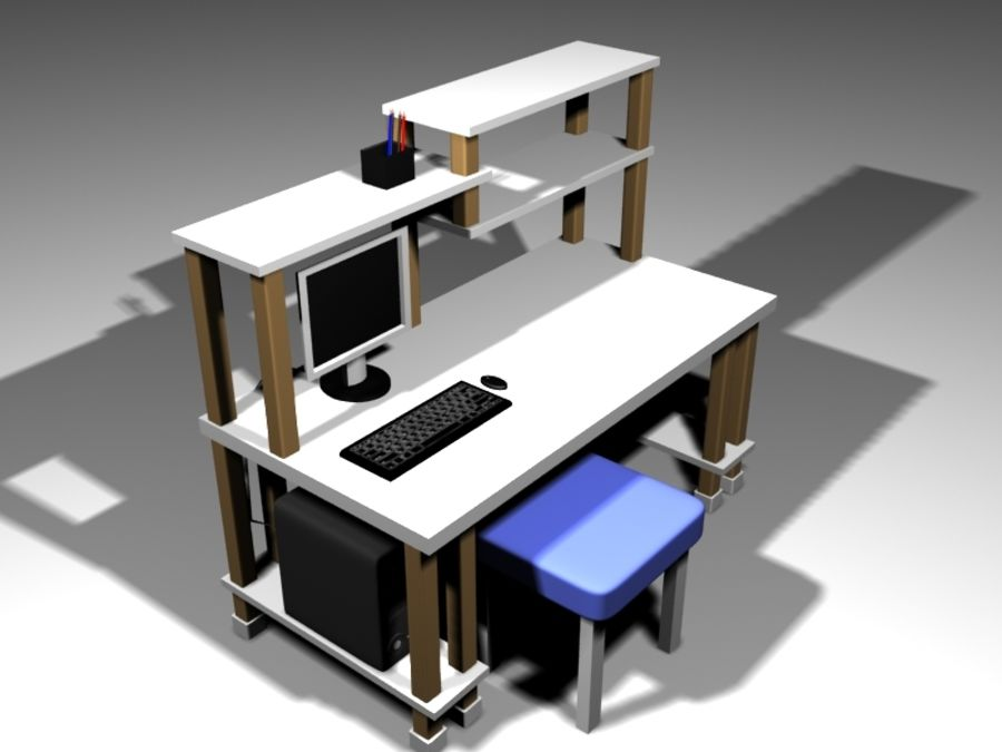 Desktop Table royalty-free 3d model - Preview no. 2