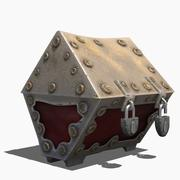 Metal chest stylized ancient old retro treasure cartoon lowpoly VR 3d model