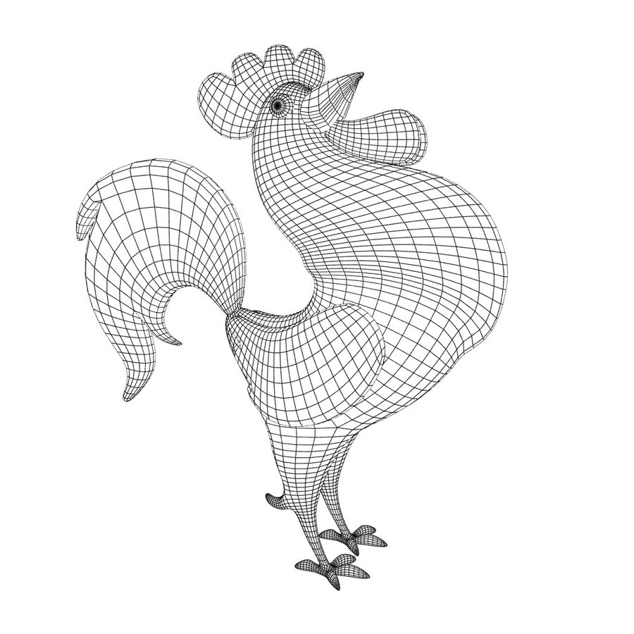 Cartoon rooster royalty-free 3d model - Preview no. 5