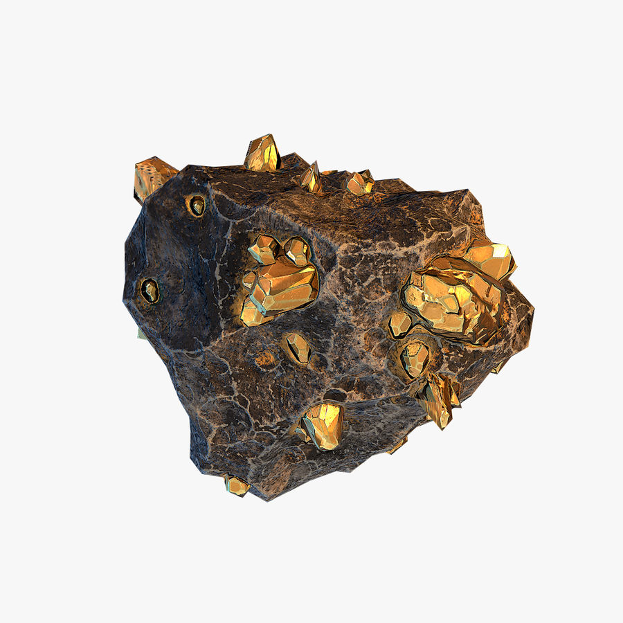 Meteor Ore Gold royalty-free modelo 3d - Preview no. 5