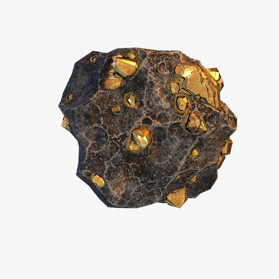 Meteor Ore Gold royalty-free modelo 3d - Preview no. 4
