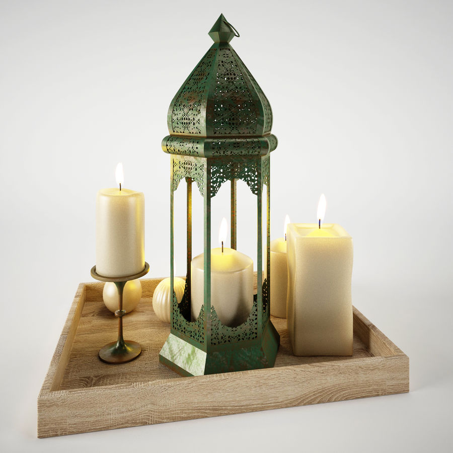 Lantern candles royalty-free 3d model - Preview no. 4