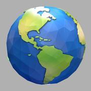 Low Poly Cartoon Earth 3d model