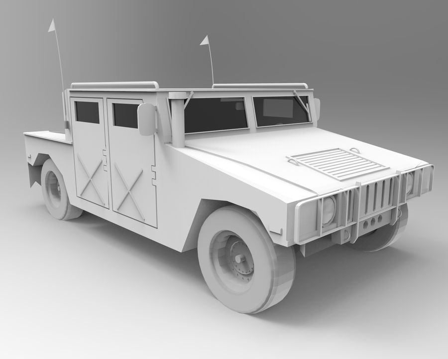 Humvee military royalty-free 3d model - Preview no. 12