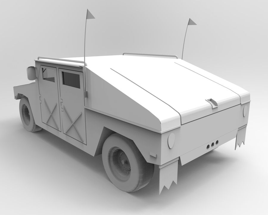 Humvee military royalty-free 3d model - Preview no. 13