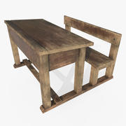 Old School Desk 3d model