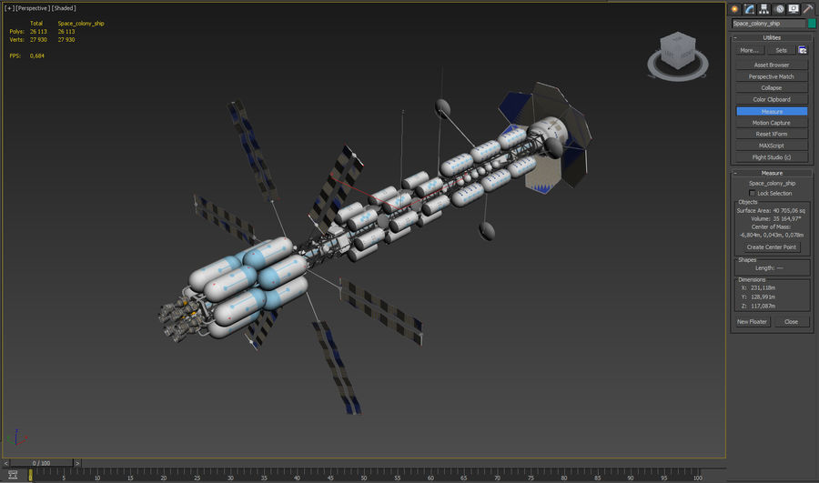 Space colony ship royalty-free 3d model - Preview no. 20