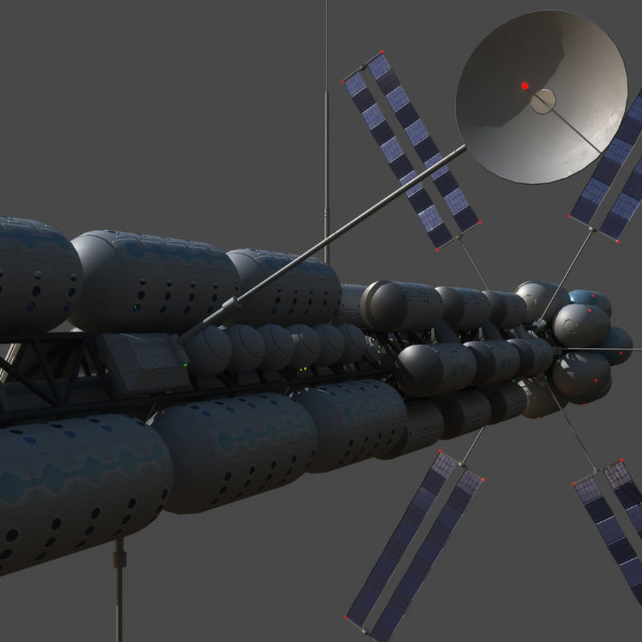 Space colony ship royalty-free 3d model - Preview no. 14
