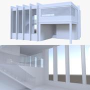 Modern huis vier met interieur 3d model