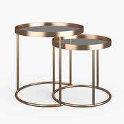 Zara Home Round Gold Nest of Tables 3d model