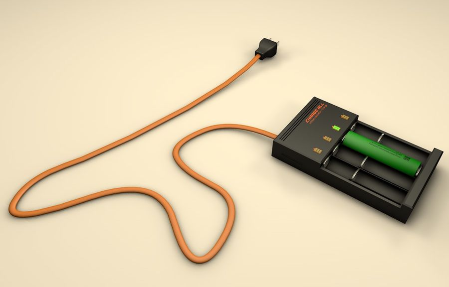 18650 Battery Charger royalty-free 3d model - Preview no. 5