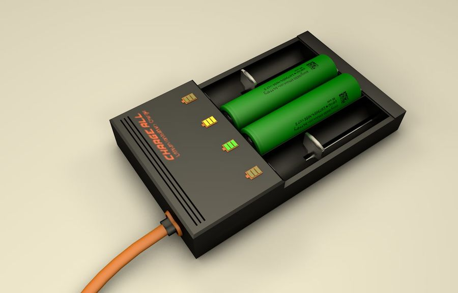 18650 Battery Charger royalty-free 3d model - Preview no. 8