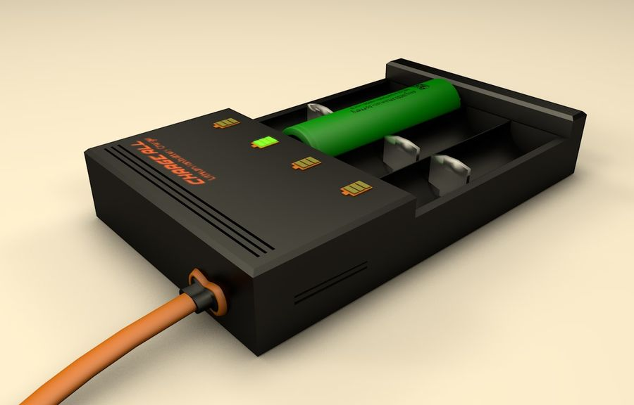 18650 Battery Charger royalty-free 3d model - Preview no. 3