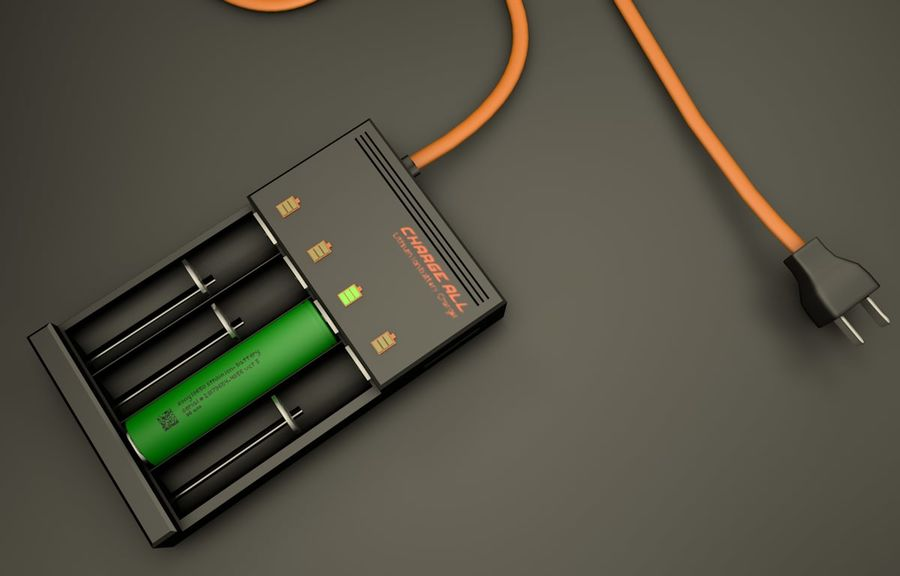 18650 Battery Charger royalty-free 3d model - Preview no. 1