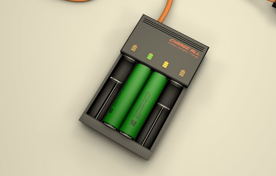 18650 Battery Charger royalty-free 3d model - Preview no. 7