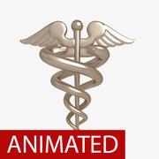 Medical symbol caduceus animated 3d model