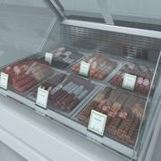 冷藏展示柜和香肠 3d model