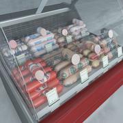 冷藏展示柜和水煮香肠 3d model