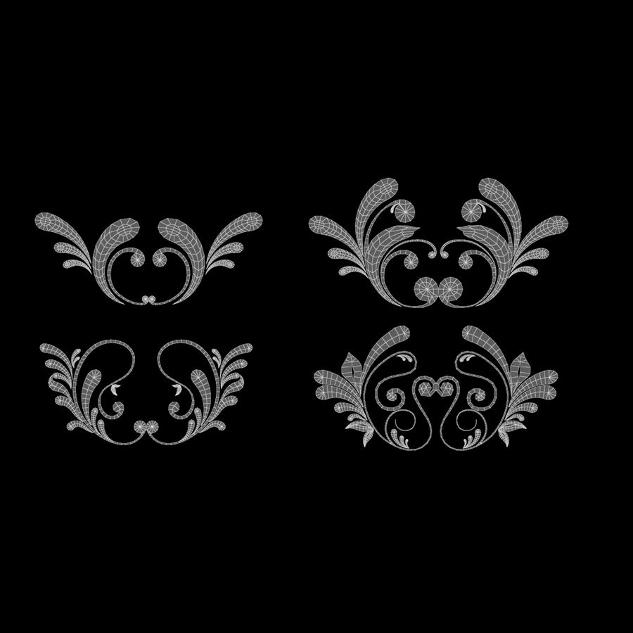 3D bloeien ornamentvormen royalty-free 3d model - Preview no. 7