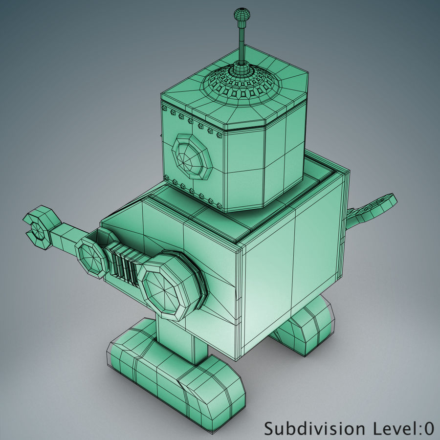 Tolo Spielzeugroboter royalty-free 3d model - Preview no. 14