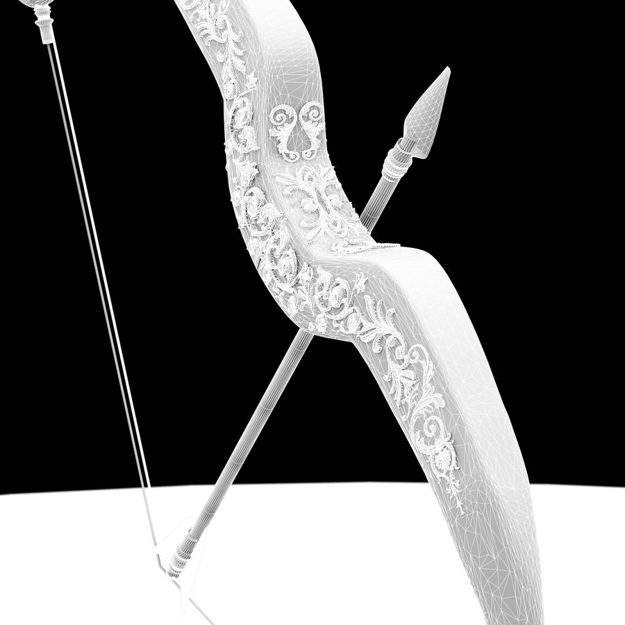 Cupid Bow and Arrow royalty-free 3d model - Preview no. 5