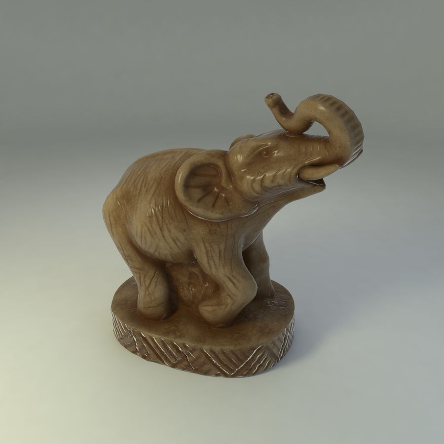 Elephant Statuette royalty-free 3d model - Preview no. 2