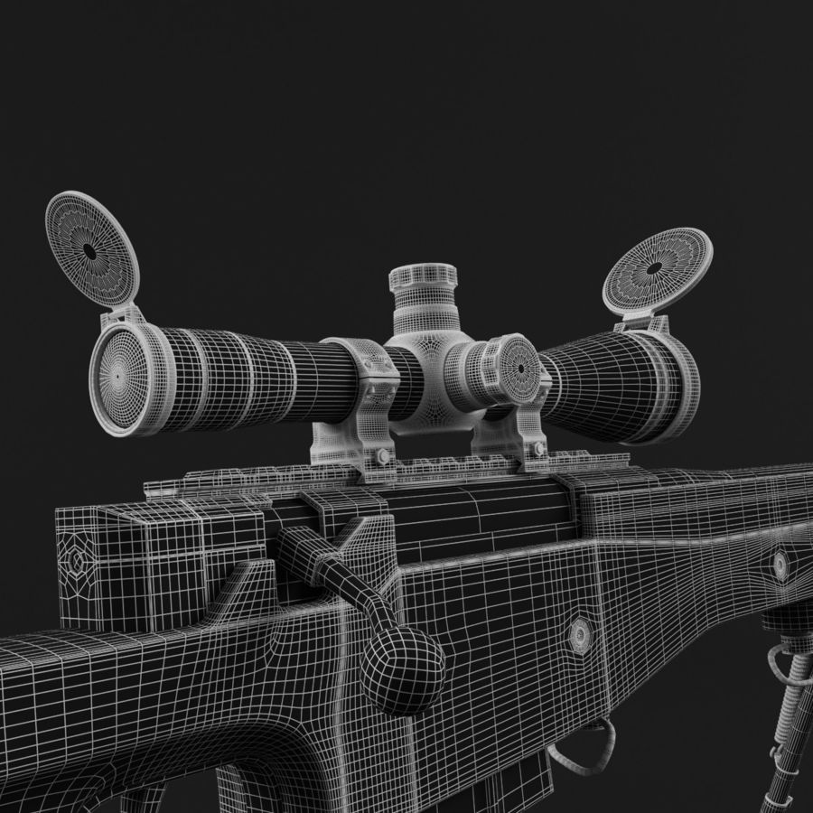 Sniper Rifle L96 British royalty-free 3d model - Preview no. 19