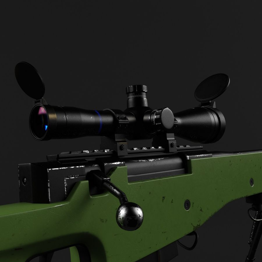 Sniper Rifle L96 British royalty-free 3d model - Preview no. 6