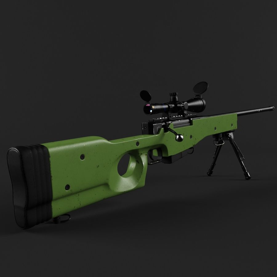 Sniper Rifle L96 British royalty-free 3d model - Preview no. 3