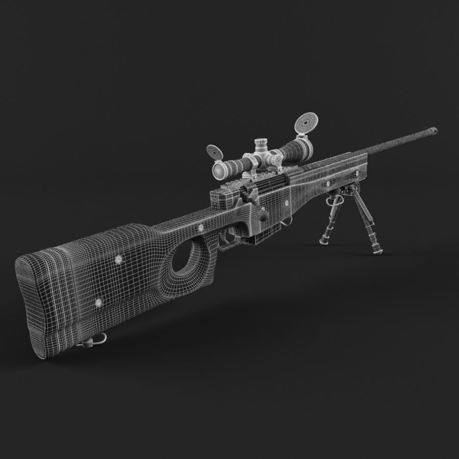 Sniper Rifle L96 British royalty-free 3d model - Preview no. 17