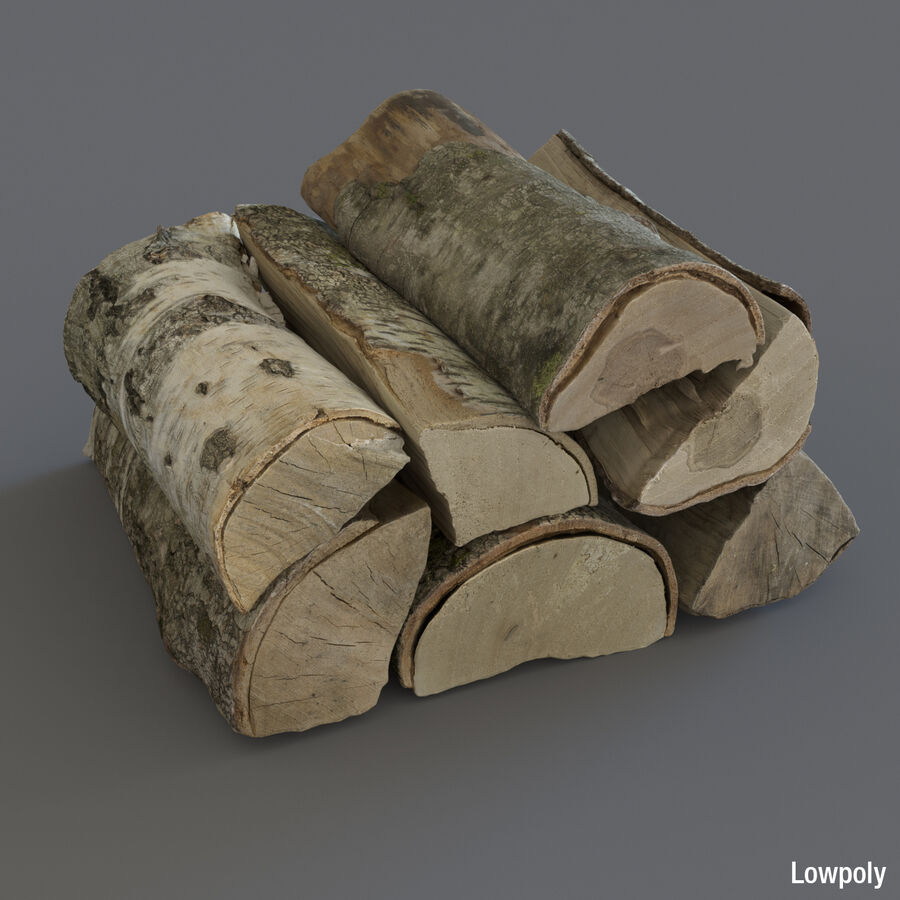 Wood Logs royalty-free 3d model - Preview no. 6