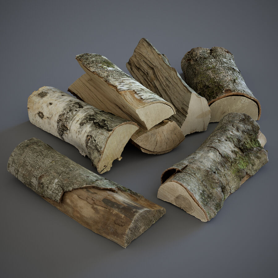 Wood Logs royalty-free 3d model - Preview no. 2