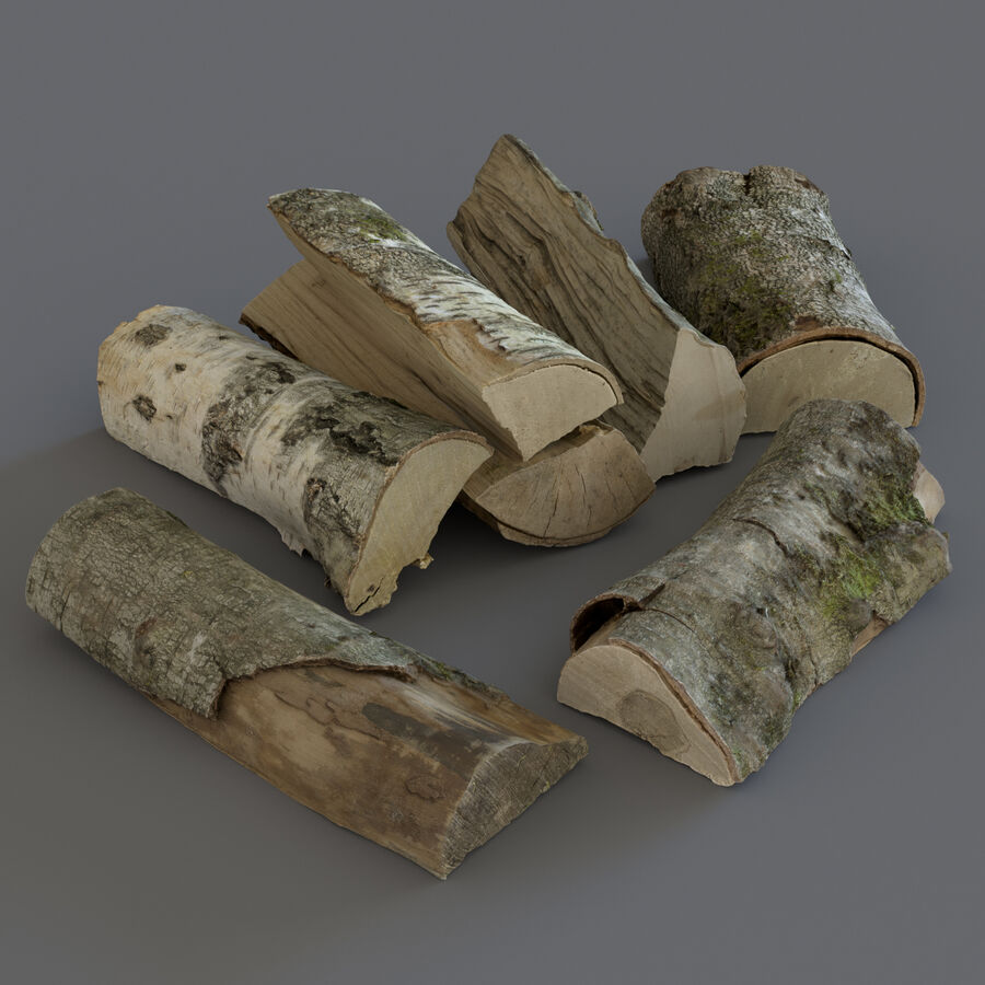 Wood Logs royalty-free 3d model - Preview no. 3