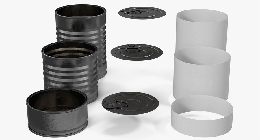 Tin Cans royalty-free 3d model - Preview no. 11
