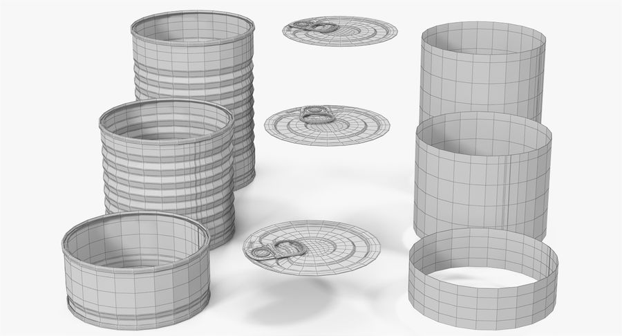 Tin Cans royalty-free 3d model - Preview no. 30