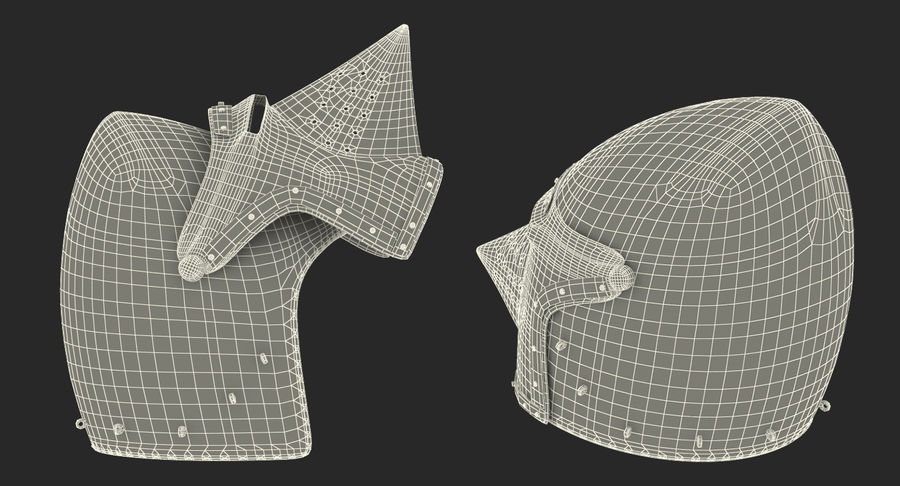 Casque Bascinet Houndskull royalty-free 3d model - Preview no. 17
