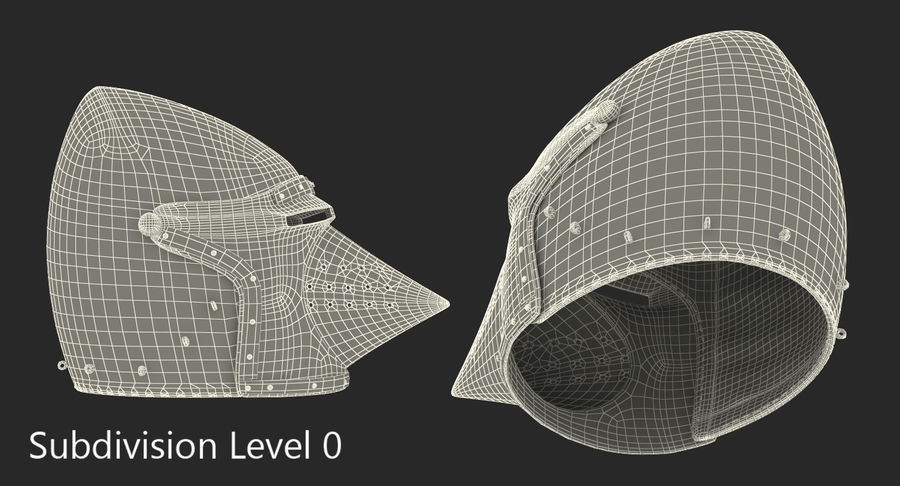Casque Bascinet Houndskull royalty-free 3d model - Preview no. 9