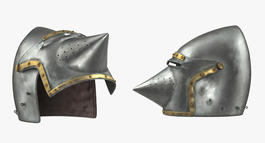 Casque Bascinet Houndskull royalty-free 3d model - Preview no. 3