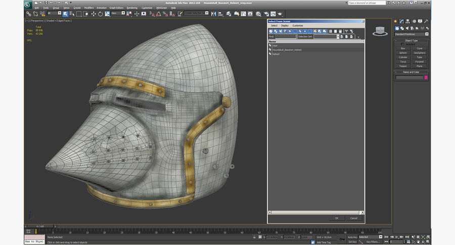 Casque Bascinet Houndskull royalty-free 3d model - Preview no. 13