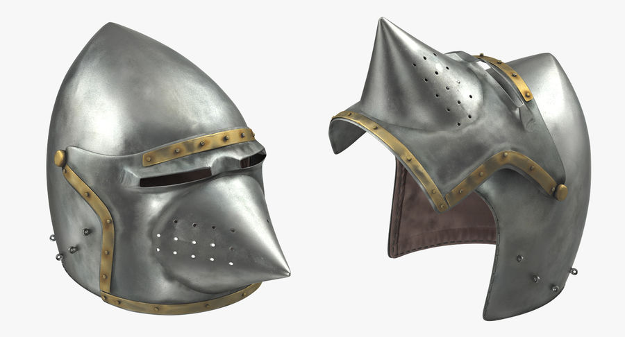 Casque Bascinet Houndskull royalty-free 3d model - Preview no. 4