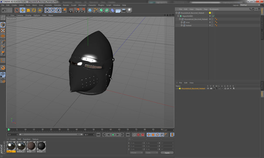 Casque Bascinet Houndskull royalty-free 3d model - Preview no. 14