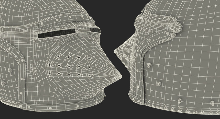 Casque Bascinet Houndskull royalty-free 3d model - Preview no. 18