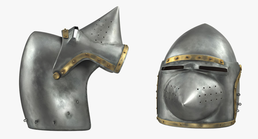 Casque Bascinet Houndskull royalty-free 3d model - Preview no. 5