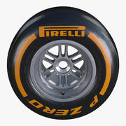 Formula1 Rear Wheel Pirelli PZero Hard Tire 3d model
