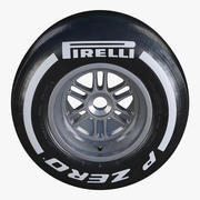 Formula1 Rear Wheel Pirelli PZero Medium Tire 3d model