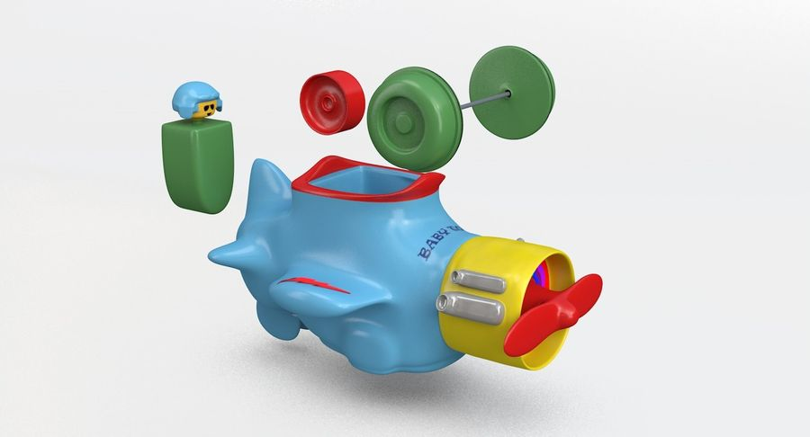 Brinquedo avião royalty-free 3d model - Preview no. 8