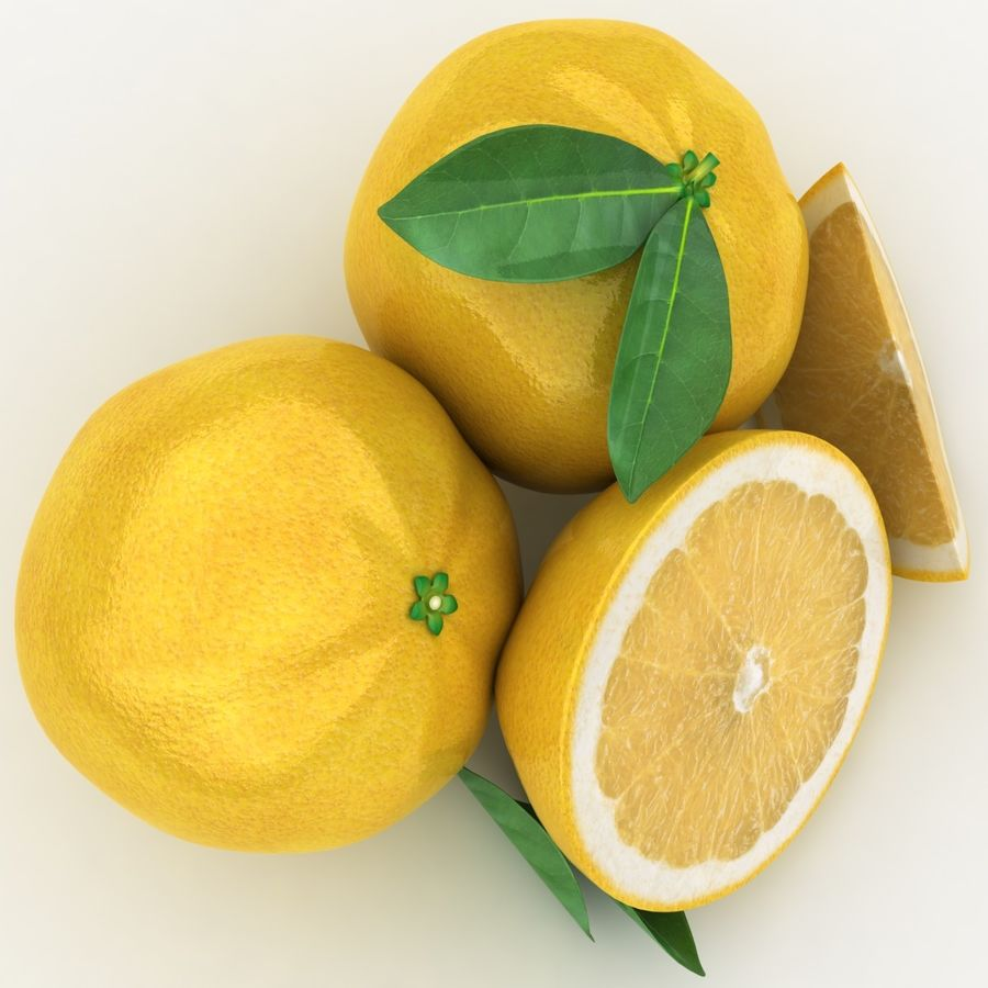 Grapefruit (Yellow) royalty-free 3d model - Preview no. 8