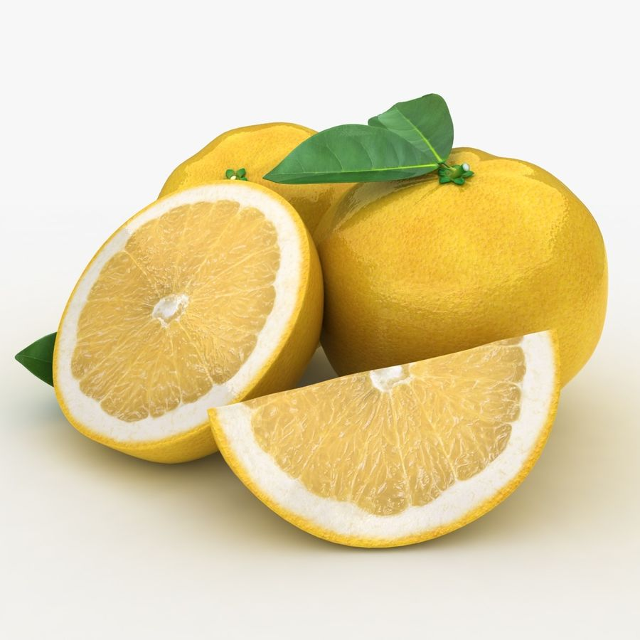 Grapefruit (Yellow) royalty-free 3d model - Preview no. 2