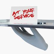 Servicefack med vit handske 3d model